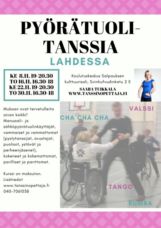 Mainos Pyörätuolitanssi Lahti syksy 2017